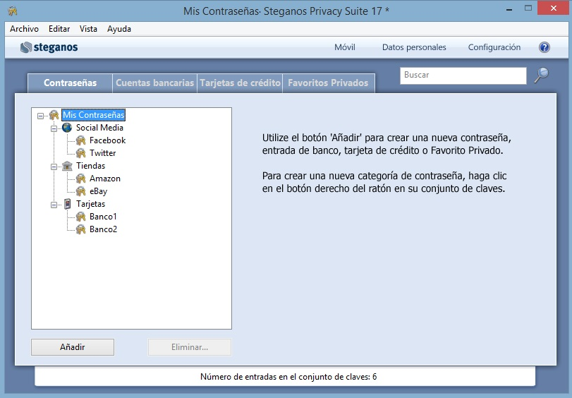 Gestor de contraseñas Steganos Password Manager