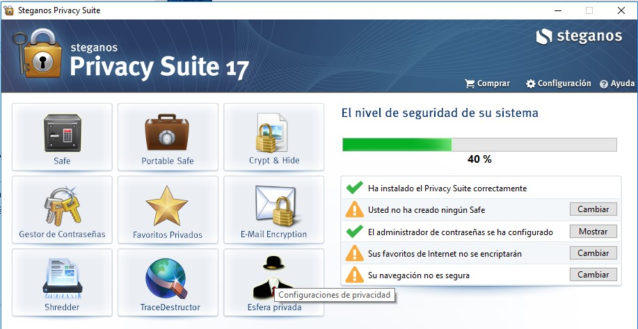 Iniciar Steganos Privacy Suite