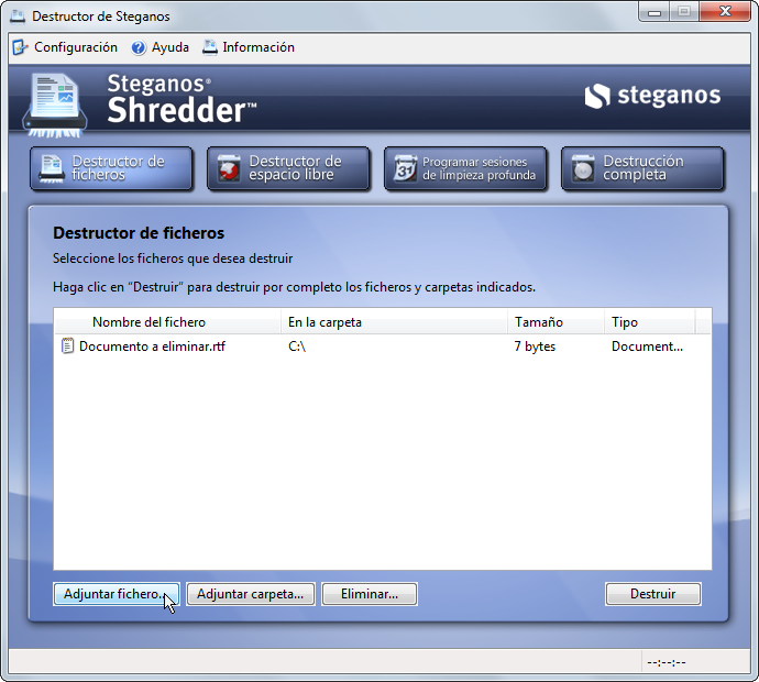 Destruir archivos permanentemente con Shredder
