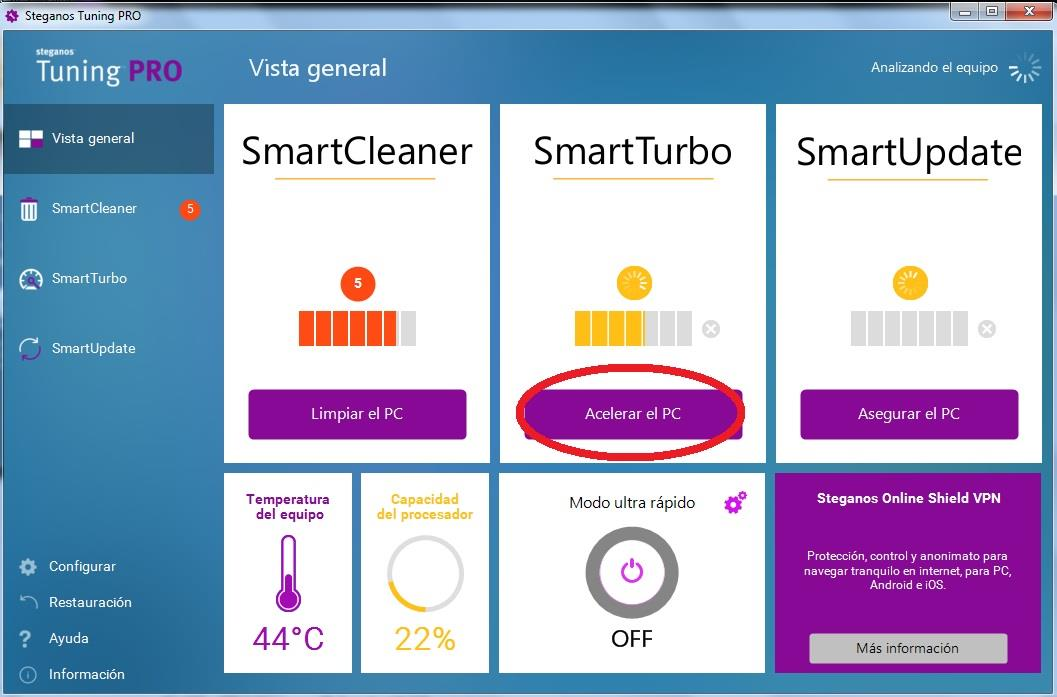 optimizar las definiciones de Windows con SmartTurbo