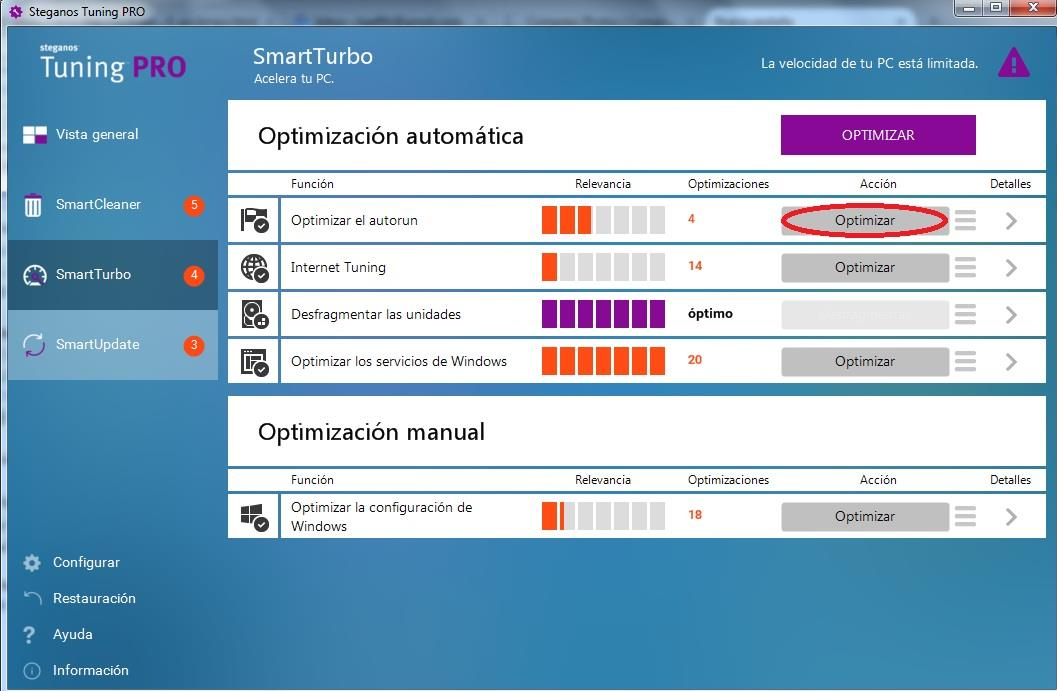 optimizar el inicio de Windows con Steganos Tuning PRO