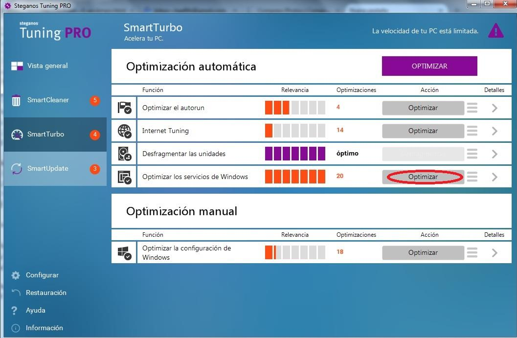 como optimizar Windows con Steganos Tuning PRO