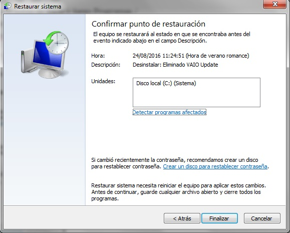 usar restauracion sistema windows